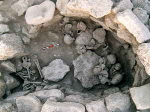 """Everything but the faces."" Disembodied heads with the faces smashed in at the bottom of a 10,000-year-old grave in Syria. -Consejo Superior de Investigaciones Cientificas"