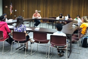 Talking story with the teen writers' group at Naperville Public Library - Nichols Branch.