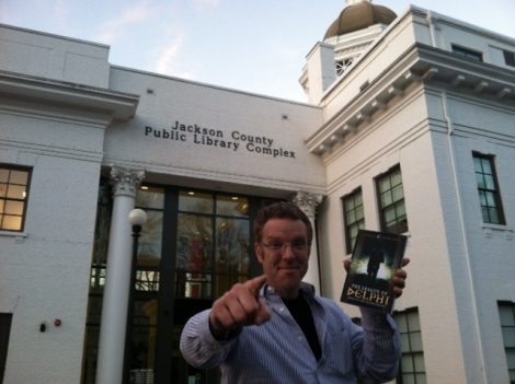 Clowning outside the Sylva, NC Jackson County Public Library.