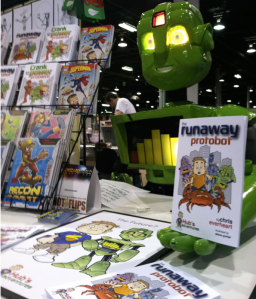 "Crank the kid-bot introduces bio-kids to the ""Hub's Adventures"" books."